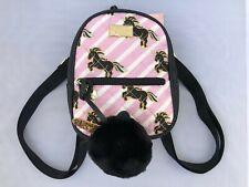 Luv Betsey Unicorn Mini Backpack with pom pom charm black and blush stripes NWT
