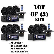 Lot of (3) Pyle PLMRKT14BK Marine Audio Speaker System Head-Unit MP3 AM/FM