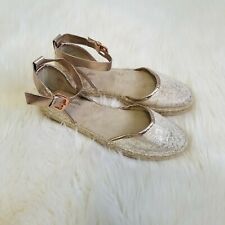 SEYCHELLES Womens Rose Gold Canvas Metallic Espadrilles Sandals Size 9