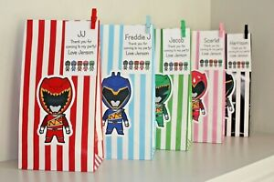 Personalised POWER RANGERS striped Birthday Party Thank You Paper Bags