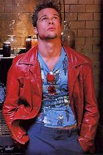 Fight Club Brad Pitt Tyler Durden Real Sheepskin Red Leather Jacket FC Coat