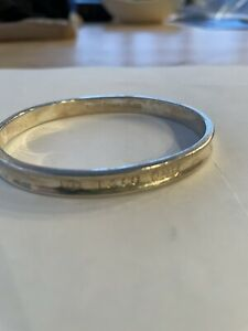 Tiffany & Co stamped 1837 Sterling Silver Concave Narrow Bangle Bracelet