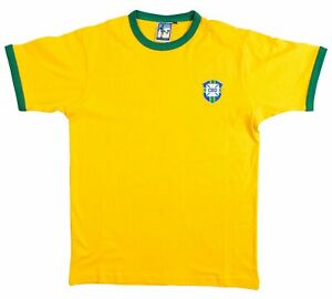 Brazil National 1950-1970s Retro Football T Shirt Embroidered Crest S-XXL