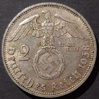 Nazi Germany Third Reich, 2 Mark Silver Coin, 1938 A, Berlin Mint