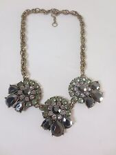 J.Crew MINT Clear Metallic Three Round teardrop Fan Statement Necklace NIP 79.50