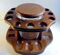 Vintage Decatur Round Walnut 12 Pipe Stand and Aztec Humidor Jar