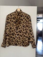 silk leopard print vintage shirt size 38 uk 10/12 net a porter