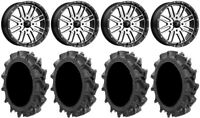 "MSA Machined Brute 18"" UTV Wheels 32"" MotoHavok Tires Kawasaki Mule Pro FXT"