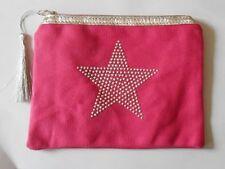 pochette tissu rose maquillage multi-usage étoile avec strass et pompon