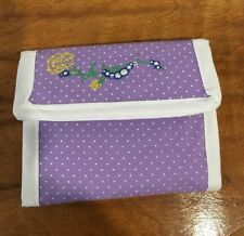 Pretty Light Purple With White Polka Dots Wallet And Embroidered Flower