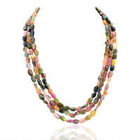 FINEST QUALITY 377.45 CTS NATURAL 3 LINE WATERMELON TOURMALINE BEADS NECKLACE