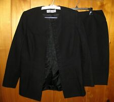 David Hayes Jacket Skirt Suit Womens Size 10 Hexagon Black Fabric Buttons Church