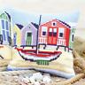 Boat/Beach Chunky Cross Stitch Cushion Kit Xmas Printed Tapestry Canvas Cushion