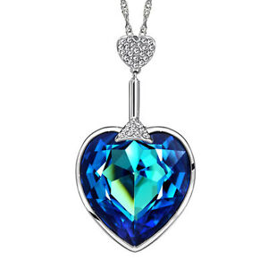 Ocean Blue Heart Necklace Made With Swarovski Crystal Long Silver Chain Pendant