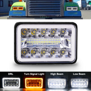 DOT 4x6 LED Headlight Projector Beam w/ DRL for For Chevrolet S10 1995 1996 1997