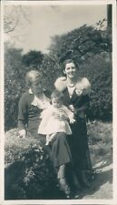 Photograph 1930's grandmother mother & Baby Daughter Vintage Fashions Fir collar