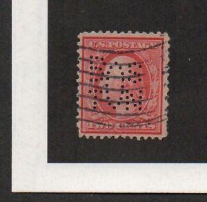 "US #332, George Washington stamp, with perfin ""BOSTON"" [City of Boston]."