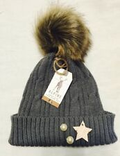 Winter Ladies Large Pom Pom Hat Faux Fur Warm Knitted Hat Grey