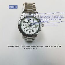 Vintage Seiko Aviator Lady Mickey Mouse, Stain/Steel Watch New Seiko Box Free Sh