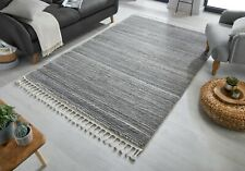 Aria Holland Hand Tufted Grey Cream Super Soft Tasseled Rug in Various sizes