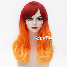 Ombre Lolita Halloween Orange Yellow Mixed Red 55CM Long Wavy Cosplay Wig+Cap