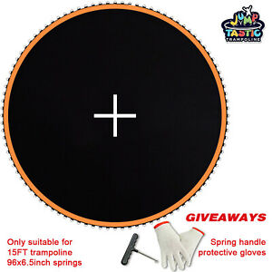 15ft Trampoline Replacement Mat with 161inch Diameter fit 6.5in Spring 96 Rings