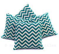 "Set of 4 Teal Blue & Cream Luxury Chenille Chevron Zig Zag 18"" Cushion Covers"