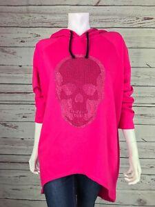 Damen Pullover New Totenkopf Kapuze Skull Hoody Longsleave One Size Pink New