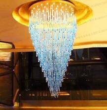 LED blue glaze crystal pendant lamp villa living room hotel engineering lights