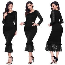Abito nudo Aderente Aperto Ballo Party Cerimonia Cocktail Hollow-out Dress S