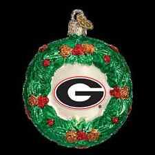 Old World Christmas Georgia Bulldogs Glass Wreath Ornament 3.5'