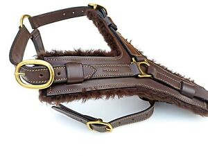 LEATHER DOG HARNESS LARGE BRASS FITTED HARDWARE BLACK & BROWN COLOUR