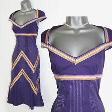 Karen Millen Purple Embroidered Unusual Neckline Striking Casual Dress UK 10