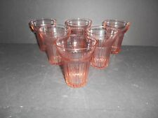 Lovely Set of 6 Pink Queen Mary Pattern 9 oz. Water Tumblers by Anchor Hocking