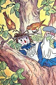 Raggedy Ann 1947 DOLL in BIRDS NEXT up TREE Matted CHILDREN CHILD'S ROOM Print