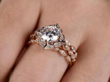Set 14k Rose Gold Finish 925 Silver 1.5ct Cubic Zirconia Floral Bridal Ring Band