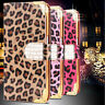 Luxury Leopard Leather Bling Diamond Flip Wallet Cover Case For Samsung iPhone