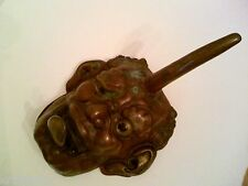 19th Century Painted Metal Japanese Diety Face w/ protruding Tongue & Horn