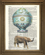 Dizionario di elefanti ART PRINT volare in MONTGOLFIER HOT AIR BALLOON!