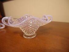 FENTON HOBNAIL CLEAR/ MILK GLASS 2 handle BON BON DISH WITH WHITE RUFFLED EDGE