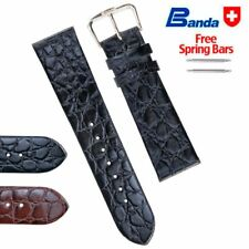 Banda Premium Grade Calfskin Crocodile Grain Leather Watch Band, Sizes 8 - 22mm