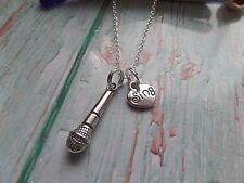 Love singing silver necklace, microphone necklace, sing love gift, xmas stocking