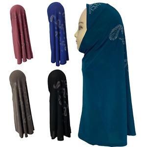 One Piece Stone Designer Readymade Hijab For Girls Kids Teenager Stretchy UK New