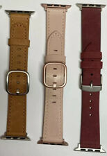 Lot Of 3 Platinum Genuine Leather Band For Apple Watch 38mm 40mm