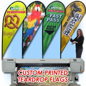 11ft Double Sided Custom Teardrop Advertising Flag Banner+Fiberglass Pole& Spike
