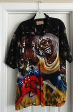 Dragfly Clothing Men'S Vintage Iron Maiden Button Up Polyester Shirt Size L Mens