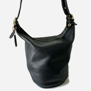 Vtg COACH XL Duffle Black Leather Shoulder Bucket Feed Bag 9085 USA