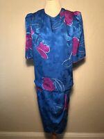 Vintage FLORA KUNG Newman Marcus Floral SILK DRESS 14