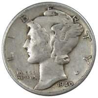 1940 10c Mercury Silver Dime US Coin F Fine