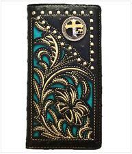Men Wallet Western Bifold Check Book W011-30 Cross Praying Cowboy Ostrich Black